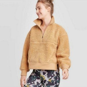 Joy Lab Teddy Pullover Sweatshirt Jacket 1/2 Zip